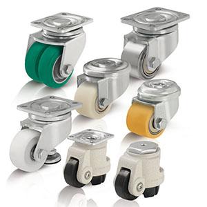 Kompaktrollen für sehr niedrige Bauhöhen und Heberollen für einfaches Anheben kleiner Transportgerät...