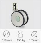 Drejeligt hjul med total- eller retningsbremse, Gaffel af polyamid, DIN-kugleleje som drejekrans. Dr...