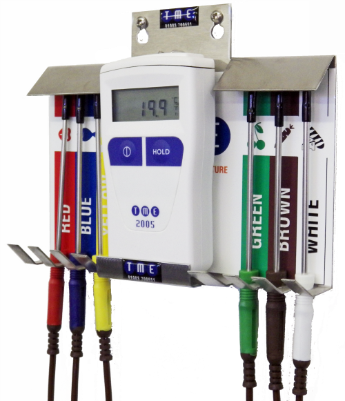 CA2005-PKW Colour Coded Thermometer and Probe Kit with Wallmount Holder