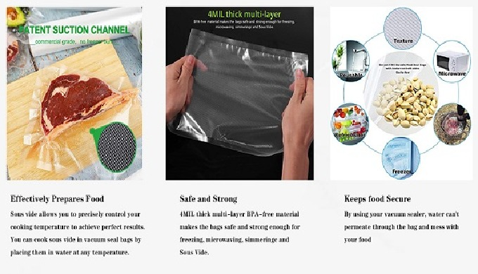 Our embossed vacuum bag material is seven layer coextrusion, good heat sealing and high transparency...