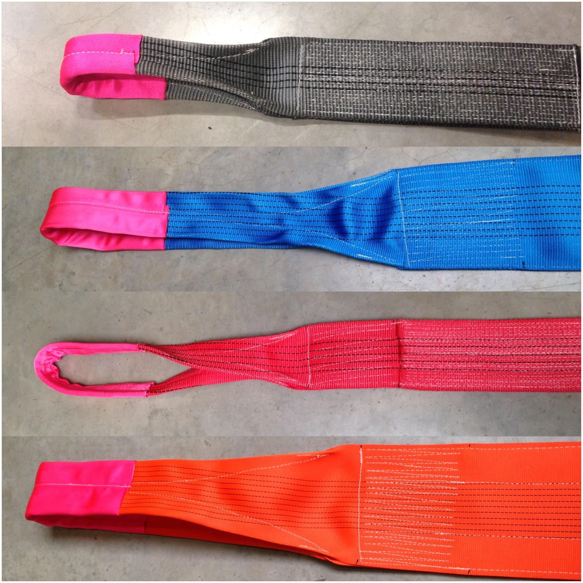 Fabrikant van Polyester Hijsbanden met verstevigde lussen SWL 500 kg tot 40 ton SF7:1 volgens EN1492...