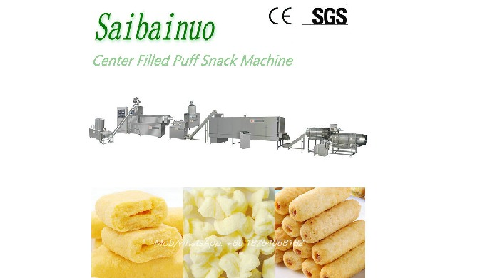 By using the Corn Filling Snacks Machine we can get different shape centre filling snacks (tubes,tri...