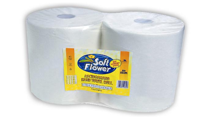 Asciugamani di carta di pura cellulosa microcollati con tecnologia DESL Due rotoli di carta a 2 stra...