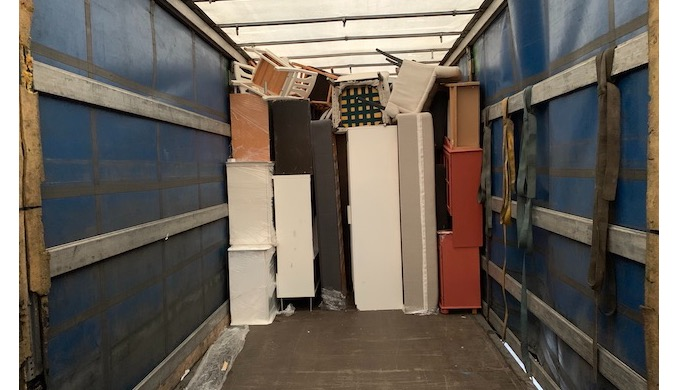 Half truck full loaded with mixed house furniture