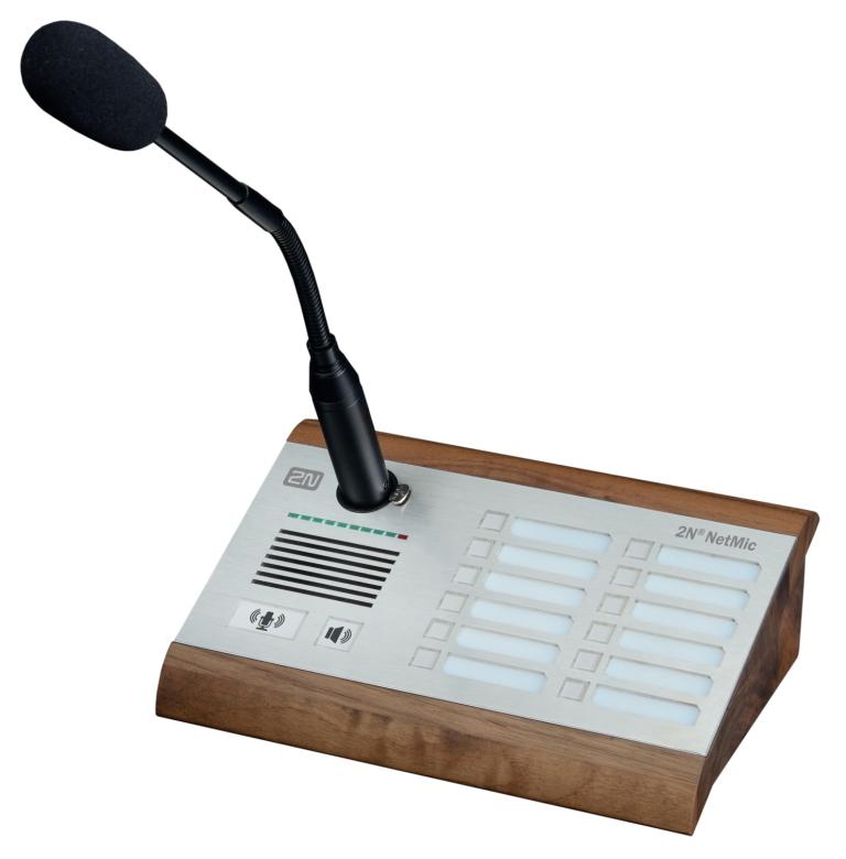 Živá hlášení vždy, když potřebujeteHardwarová konzole s mikrofonem 2N® NetMic Vám umožní živá hlášen...