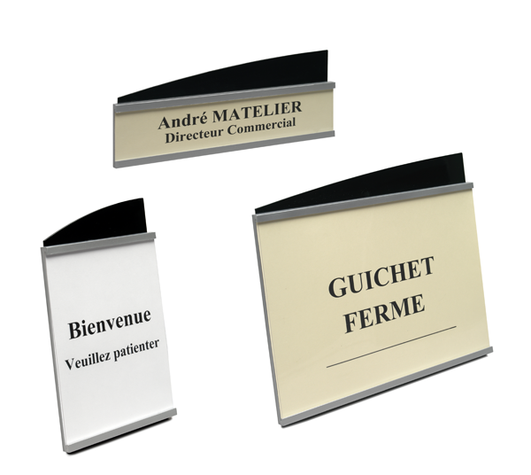Signalétique de table ou de comptoirs.Design élégant, plexiglass injecté bi-couleurs noir + aluProte...