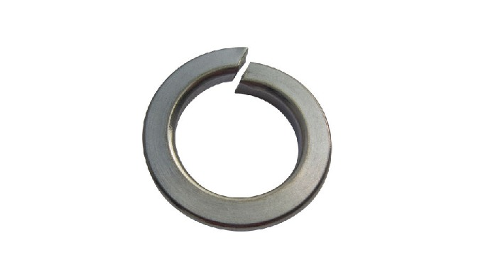 A locking washer that works by having a side tab that can be bent into place against a nut. Metallic...