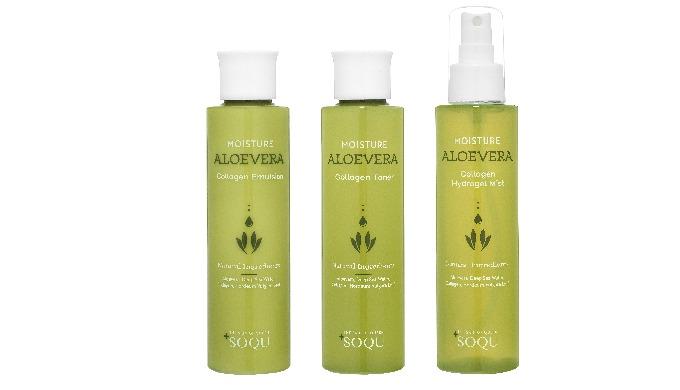 SOQU Moisture Aloe Vera Collagen Toner Contains fresh aloe vera leaf extract, deep sea water, collag...