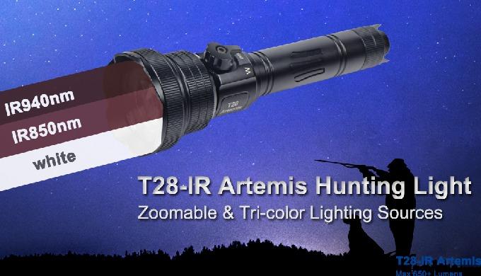 BRINYTE T28-IR Artemis是一种可变焦手电筒,具有自己的专利三色光源控制开关设计。采用1个CREE白光LED,1个Osram IR850 LED和1个Osram IR940 LED,...