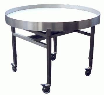 Bord med roterande skiva och fast eller medroterande kantlist. Det används t.ex. som buffert efter e...