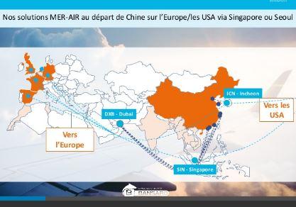 Solution transport combiné: SEA-AIR au départ de Chine sur l'Europe via SINGAPOUR