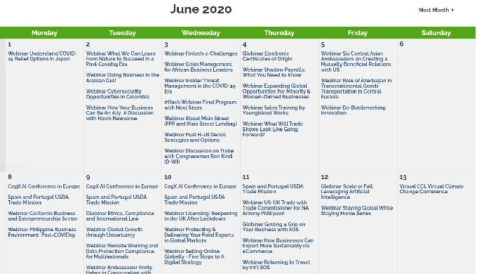 Global Chamber June 2020 events