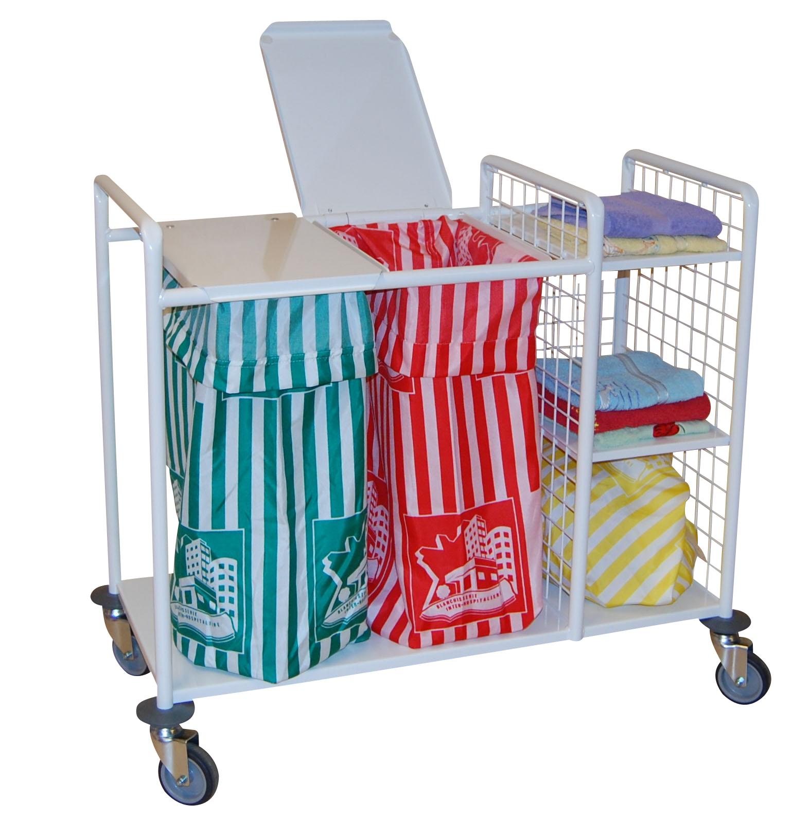 Version Aluminium1 ou 2 support sac avec couvercl1 compartiment stockage linge propre avec 2 etagère...