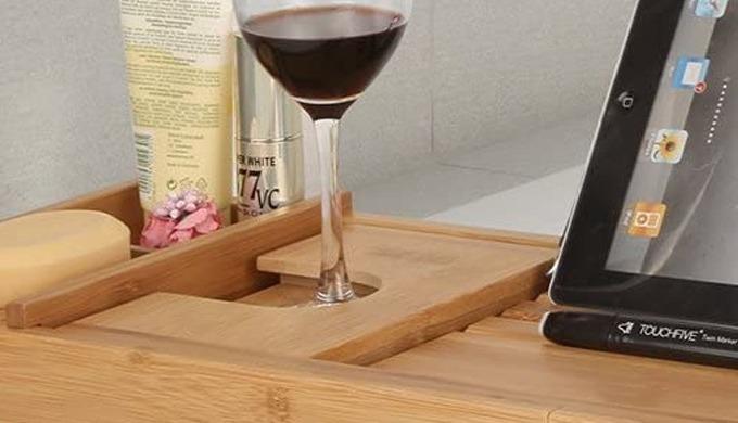 (6 customer reviews) £34.99 Natural grain bamboo bath caddy | bath tray. This luxurious, high qualit...
