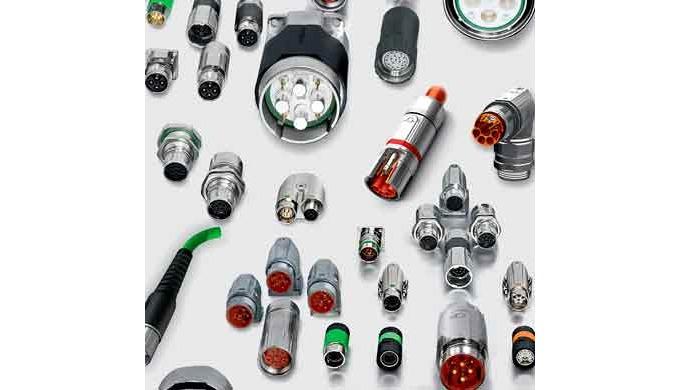 La gama de productos abarca una completa serie de conectores circulares para aplicaciones industrial...