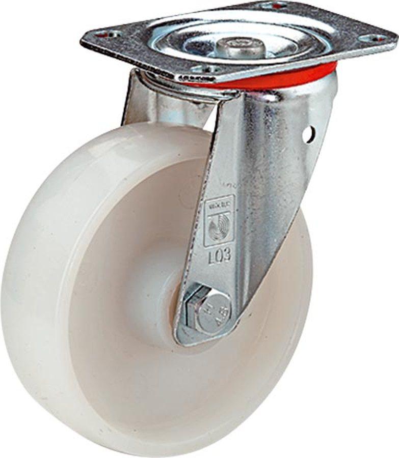 Rad-Ø x Breite 80 x 35 mmGehäuse aus Stahlblech, verzinkt-chromatiert. Schwenklager mit doppeltem Ku...
