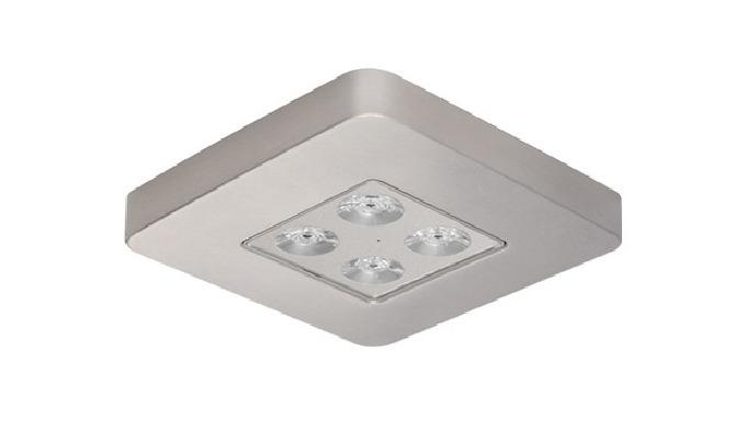 Luminaria de emergencia de forma cuadrada y diseño extraplano. El bastidor, fabricado en aluminio, a...