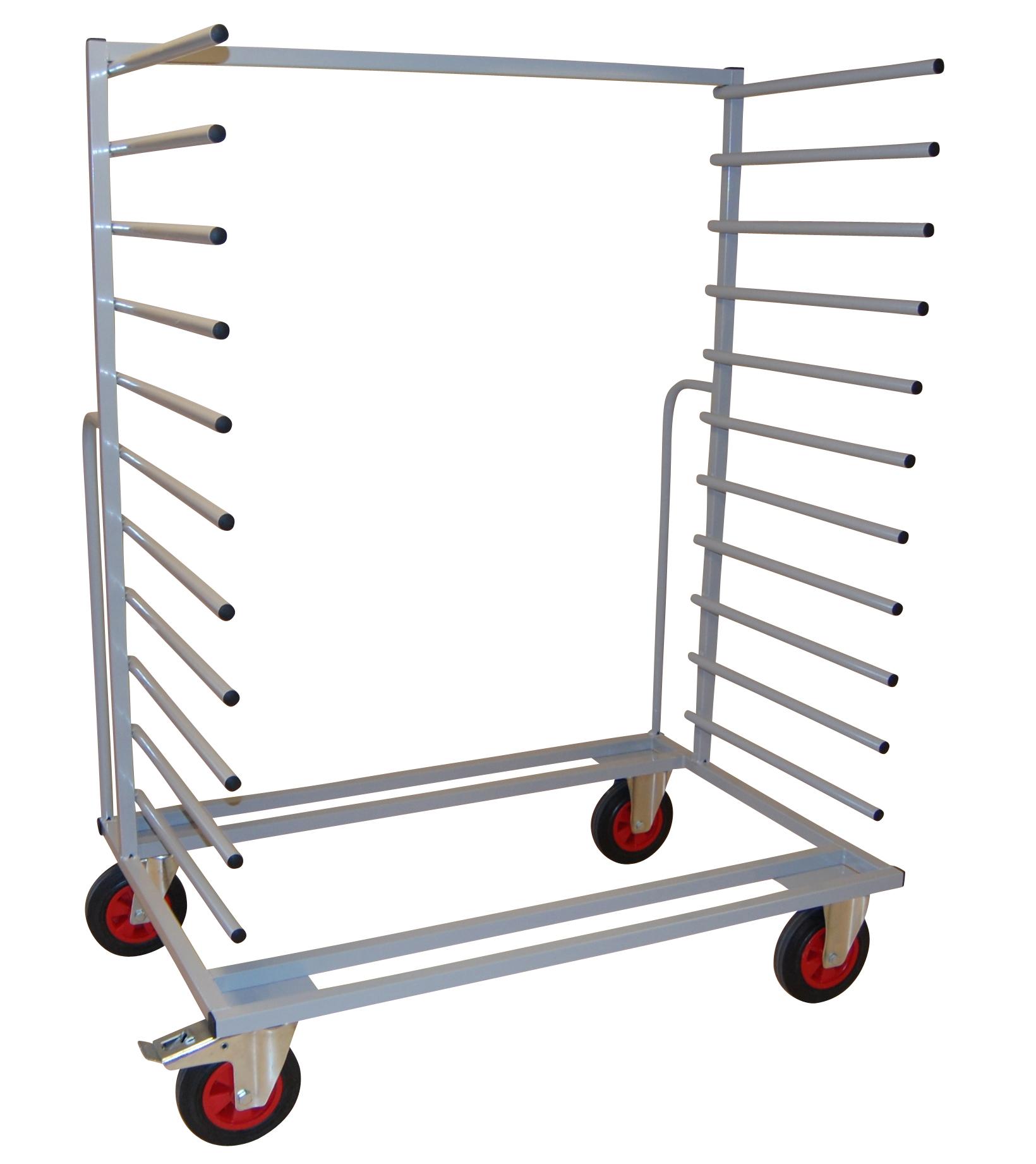 Produit: Chariot à barres- Structure en tube carré- 22 bras soudés- 2 poignées de guidage à l'arrièr...