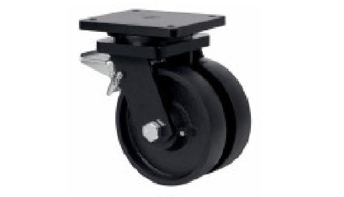 Rueda doble de acero, indicada para soportar altas cargas hasta 2.700 Kg. TA: condiciones de trabajo...