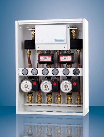 Zónové hydraulické jednotky pro podlahové vytápění.