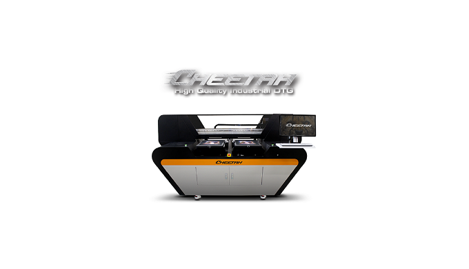 Cheetah is the fastest industrial direct to garment DTG printer. The Cheetah industrial direct to ga...