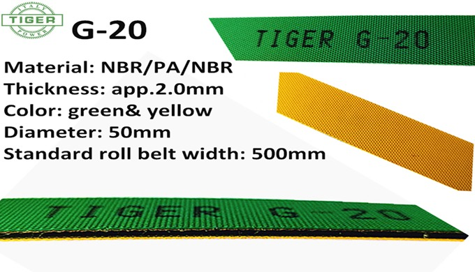 2.0mm Green/Yellow Industrial Rubber Synchronous Rough Belts