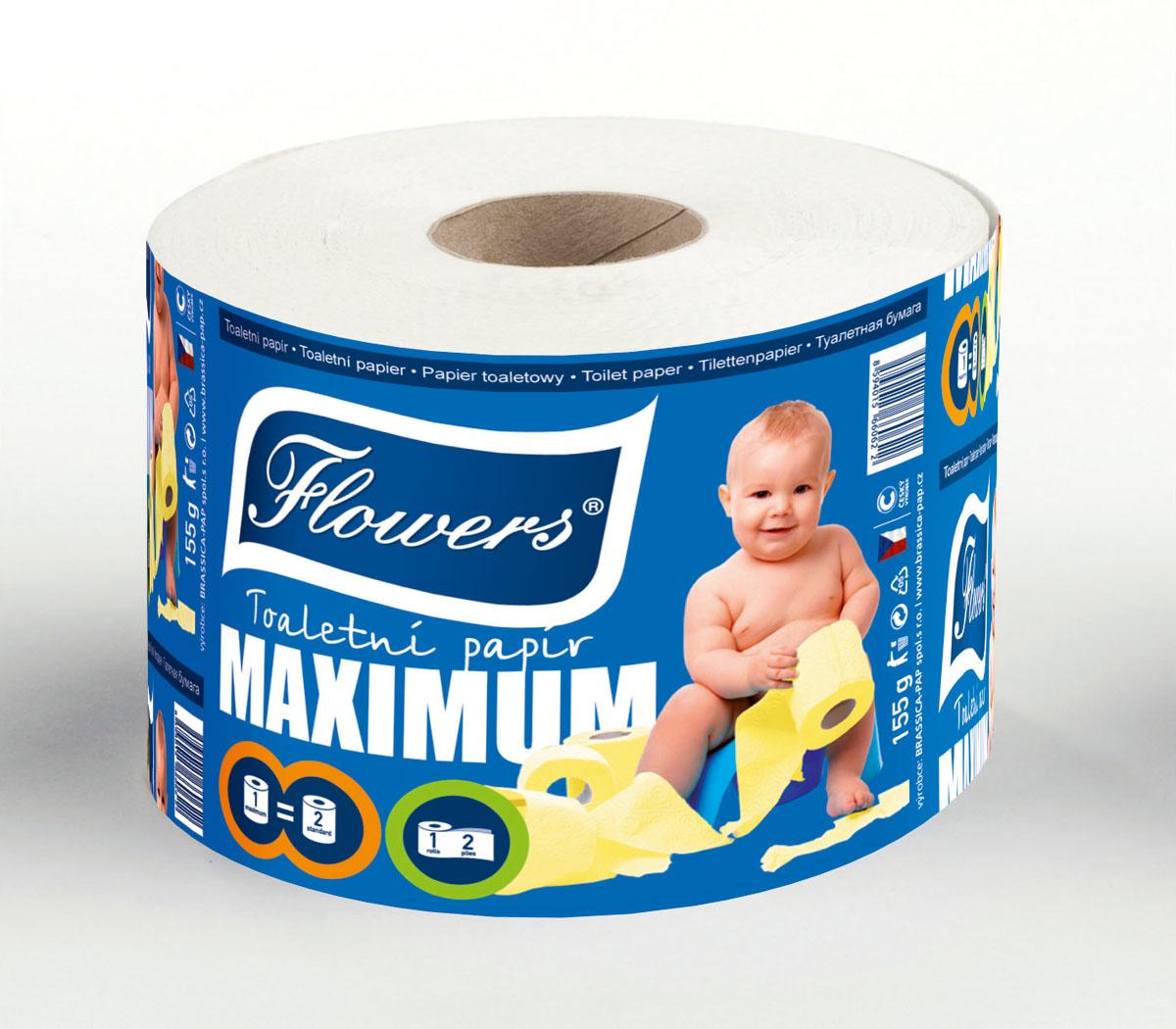 Toaletní papír Flowers Maximum ,2-vrstvý papír recyklovaný s vysokou bělostí,více barev