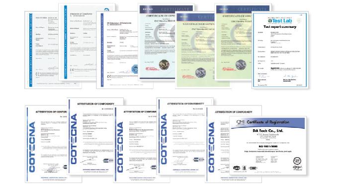 CE, ISO9001, EN - DA TACH (alcohol breathalyzer)