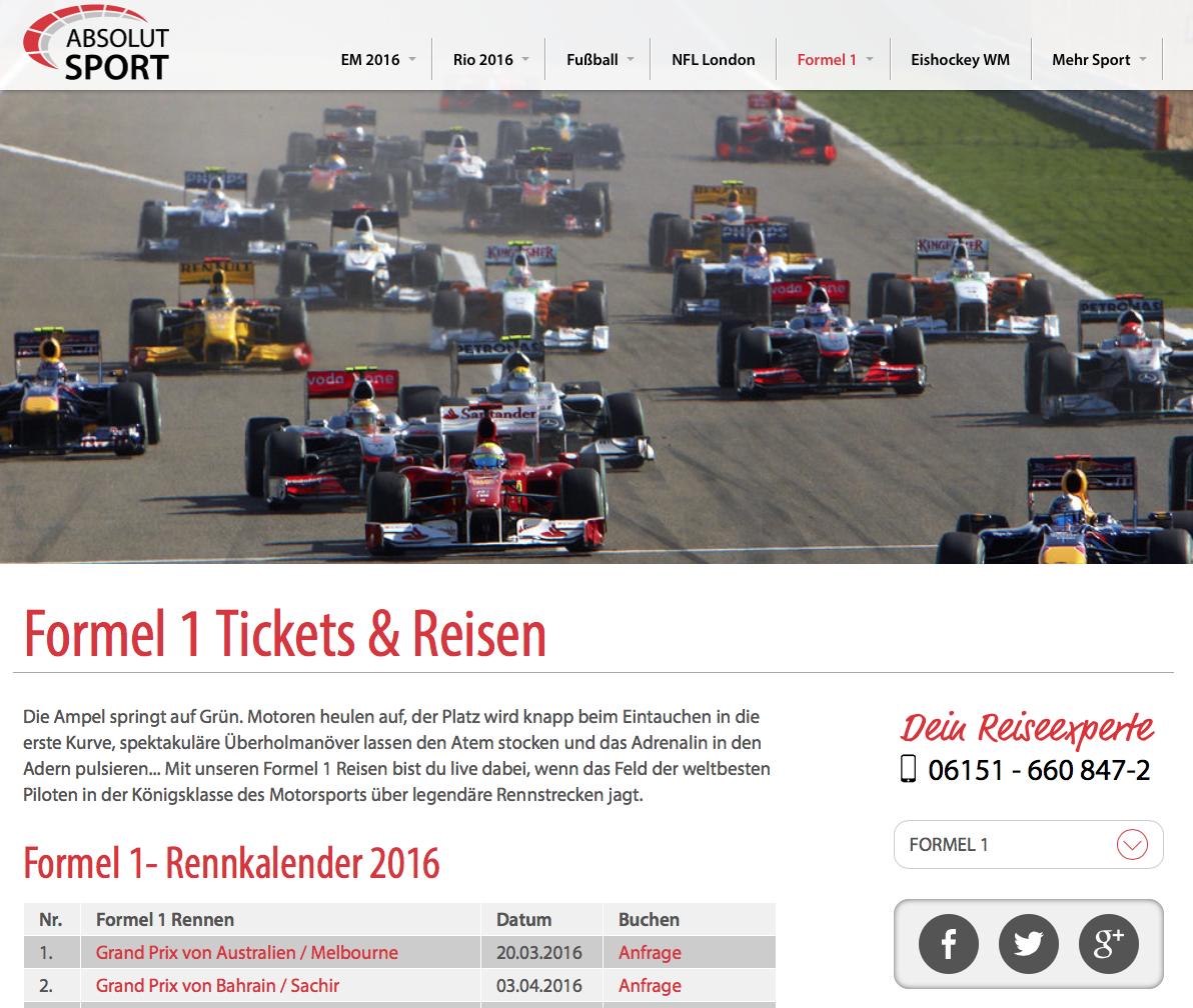 ABSOLUT Sport bietet euch Formel 1 Reisen inkl. Formel 1 Tickets zu allen Rennen der Saison 2016 an....