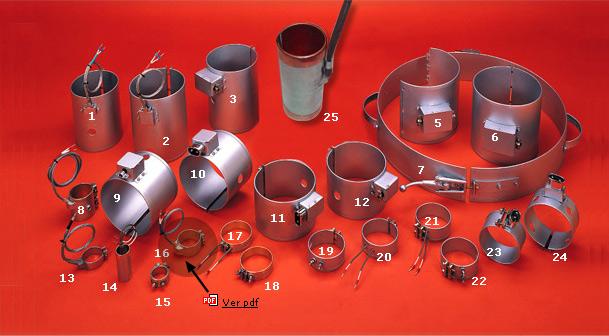 Resistencias de abrazadera en mica:Datos necesarios para la fabricación: Ø-diámetro, anchura/longitu...
