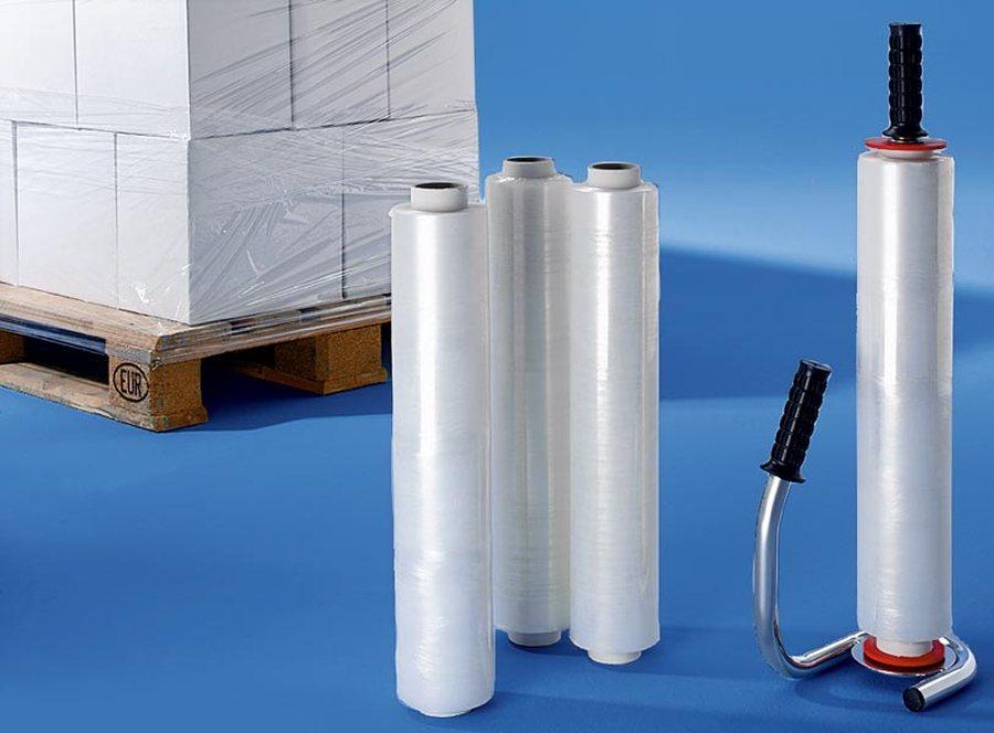 Hochwertiger verchromter Stahlabroller und Stretchfolie. Folie transparent. Länge 300 m, Breite 500 ...