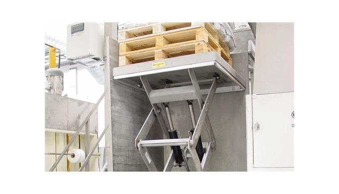 TRANSLYFT LØFTEBORDE I RUSTFRIT STÅL Rustfrit løftebord til manuel håndtering på et kyllingeslagteri...