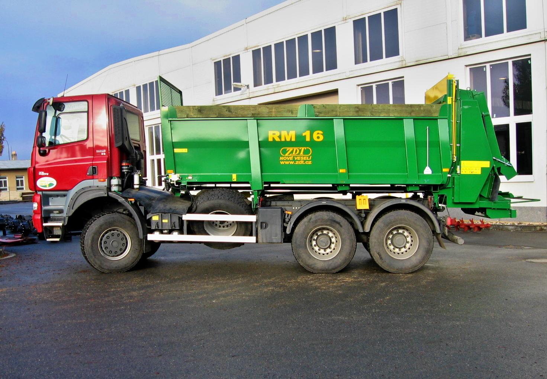 Nástavba RM 16 na nákladní automobily. Hydraulické uzavírací a dávkovací hradítko-gilotina, zabraňuj...