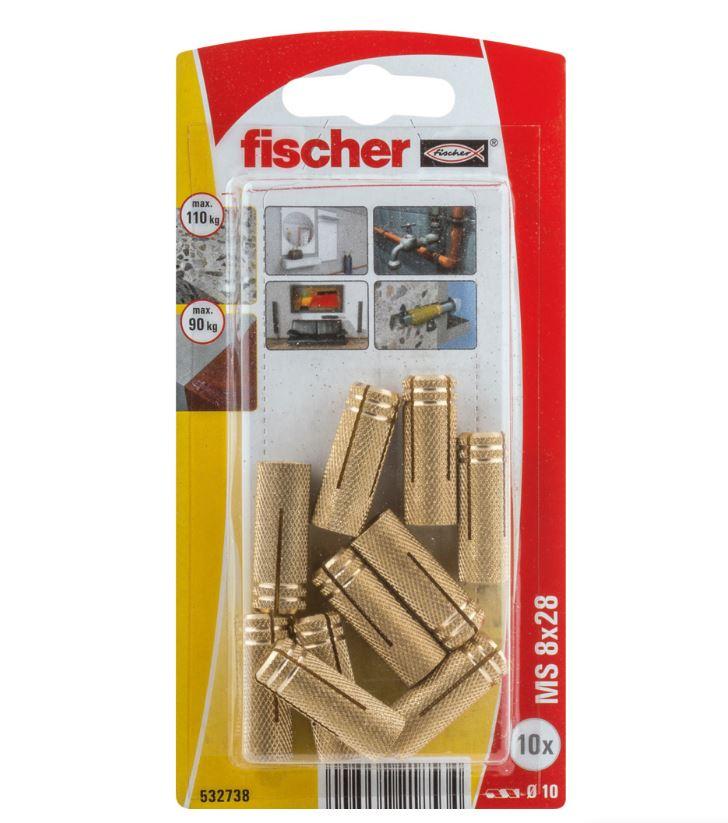 Les Chevilles en laiton fischer MS 8 sont des chevilles à expansion en laiton avec filetage métrique...