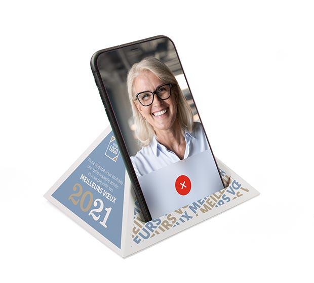 PYRAPHONE et PYRACAL, support de téléphone publicitaire de CREIDEO
