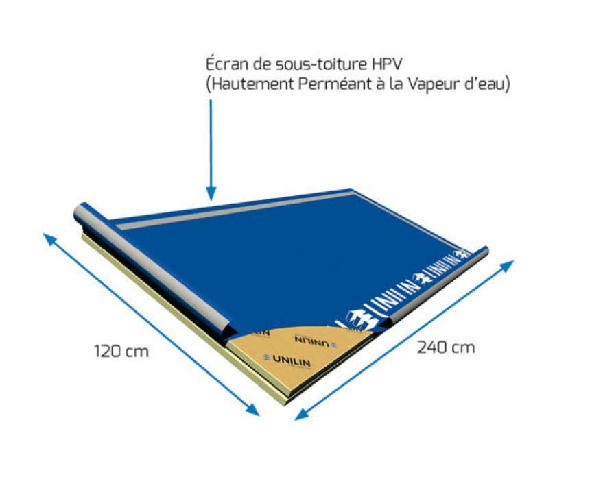 Panneau rigide avec écran de sous toiture HPV 2400 x 1200 x 100 mm