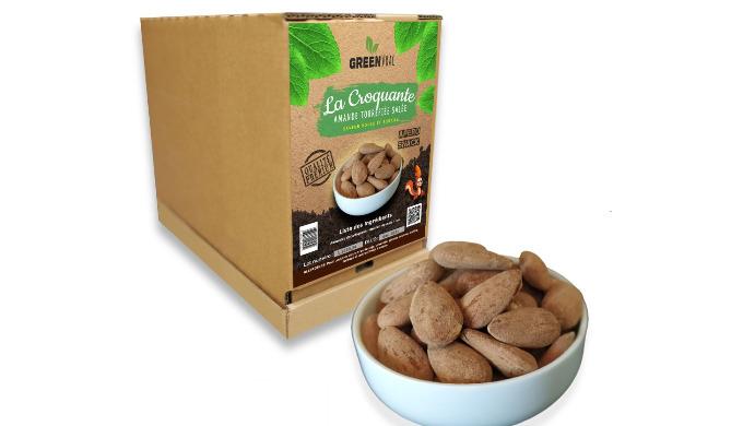 La Croquante est vendu en GreenBox de 4kgs, minimum 2 box. L'amande Torréfiée salée en vrac La Croqu...