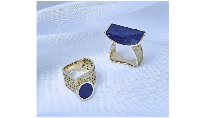 18K White Gold Lapis Lazuli, Diamonds Rings