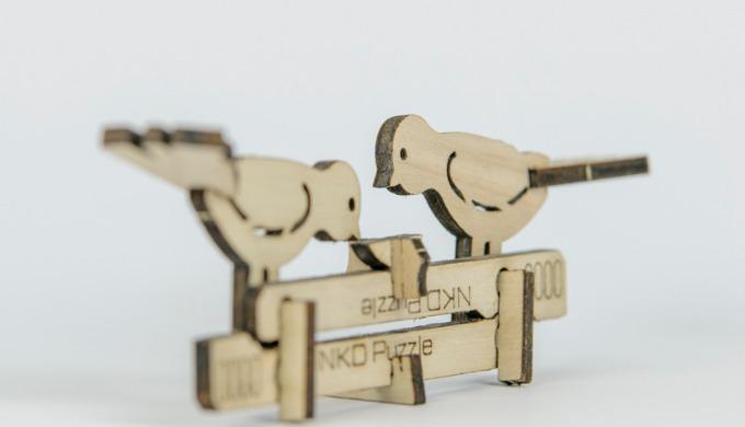 Cardkit est un puzzle EN BOIS, Nkd Puzzle décliné en pince et en oiseaux.