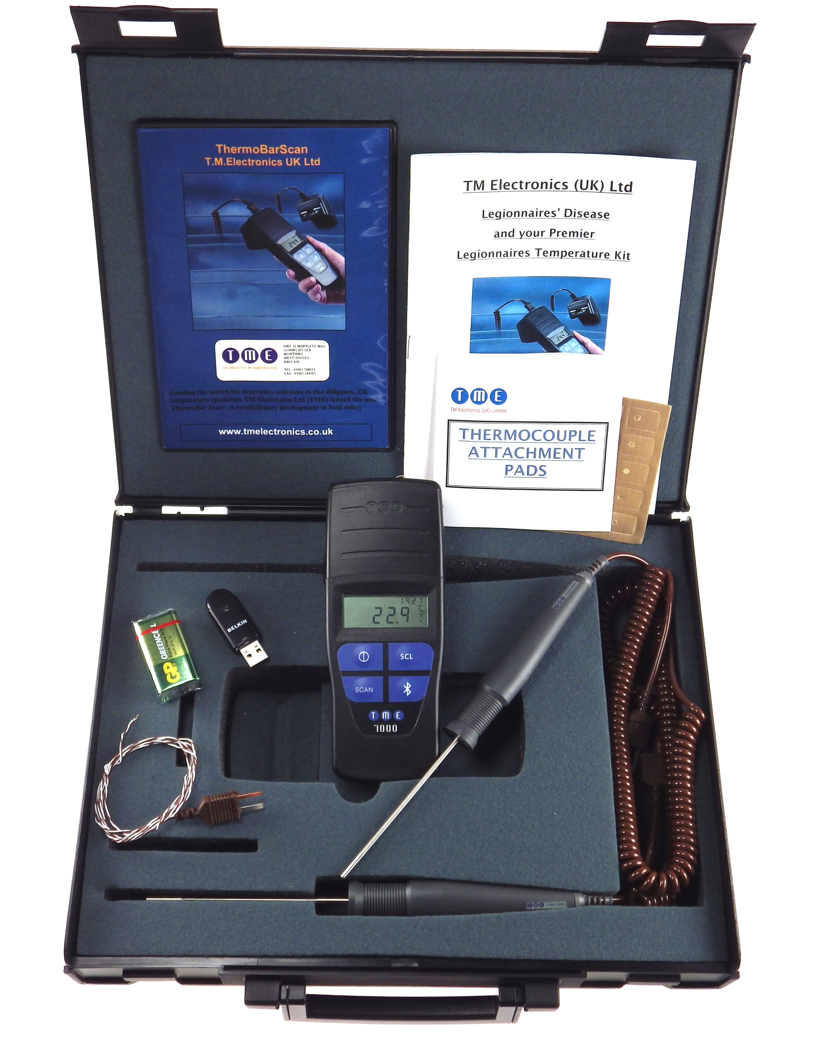 This kit with its unique Bluetooth® Barcode Thermometer, may be used to monitor the temperature of b...