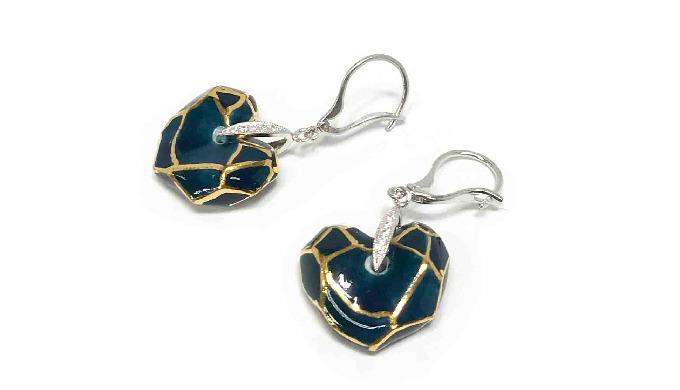 CeraSilver Ceramic  Heart earring│jewelry│silver│handmade
