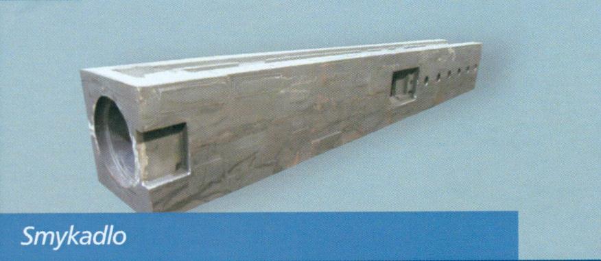 Odlitek litina s kuličkovým grafitem EN-GJS600 o hmotnosti 3800kg a rozměrech 4240mm x 590mm x 585mm
