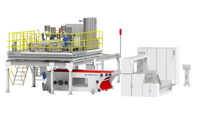 KMD stellt Zweikomponenten Meltblown Fertigungsanlagen mit einer Breite von 1,0m/1,6m/2,4m, zur Prod...