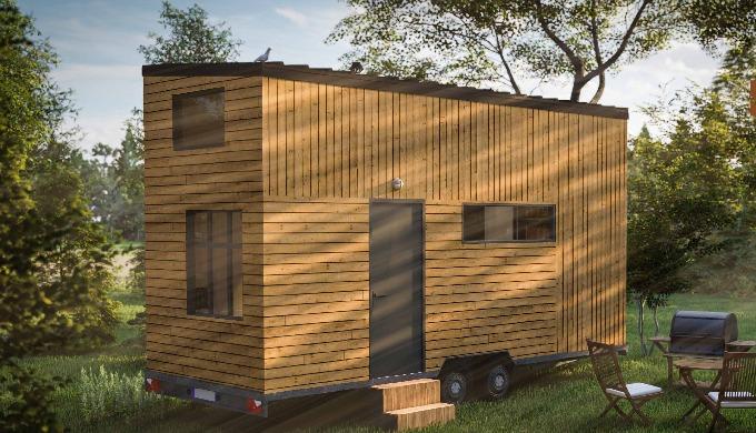 TIny house pour une famille de 4 à 6 personnes. Ce modèle dispose d'une double mezzanine.