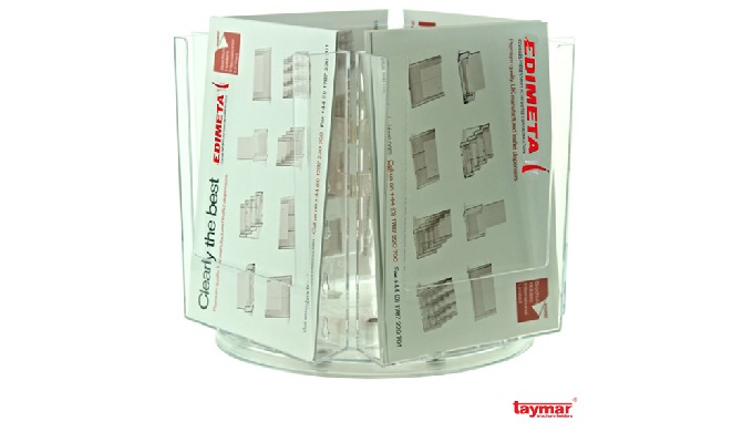 aptivez vos interlocuteurs avec nos portes-brochures Rotatifs Taymar® Multi-casesCases transparentes...