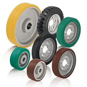 Antriebsräder und Anflanschräder mit Polyurethan-Laufbelag bzw. Gummireifen. Der Laufbelag / Reifen ...