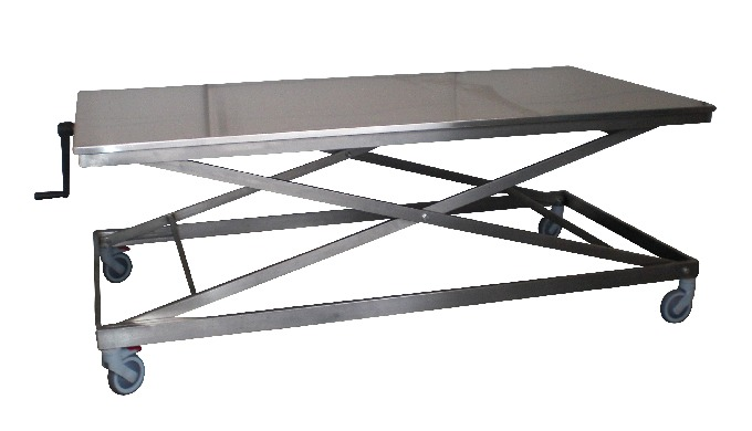 Table ergonomique avec plateau Inox Commande manuelle Hauteur minimum : 640 mm sans roues et 760 mm ...