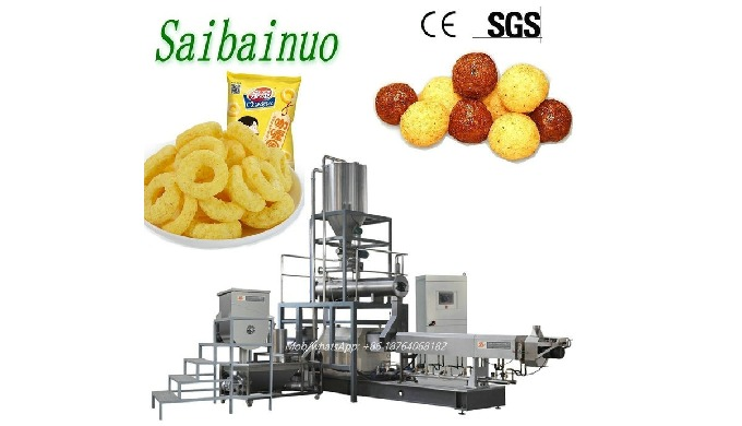 Puff Snack Making Machine can use rice flour,wheat flour,corn flour as raw materials to produce popu...