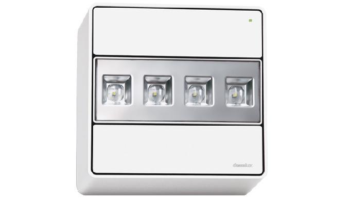 Luminaria de emergencia autónoma para colocación en grandes alturas y amplios espacios interiores. E...
