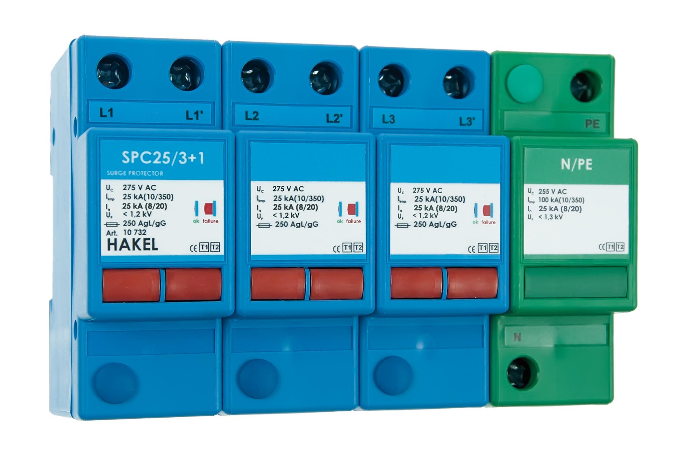 Varistorový svodič bleskových proudů a přepětí SPC25 3+1